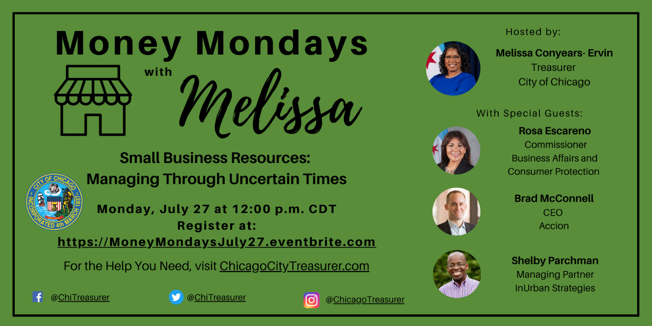 Event Flyer - ChiTreasurer Money Mondays July 27, 2020